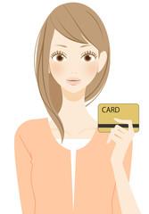 カードを持つ女性持つ女性
