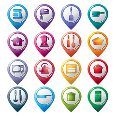 Kitchen Utensils and Appliances Pointer Icons