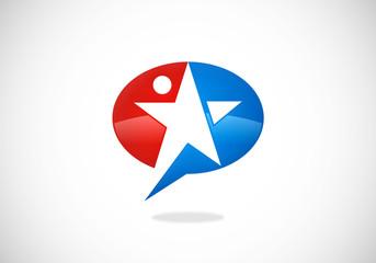 star success speech bubble vector logo
