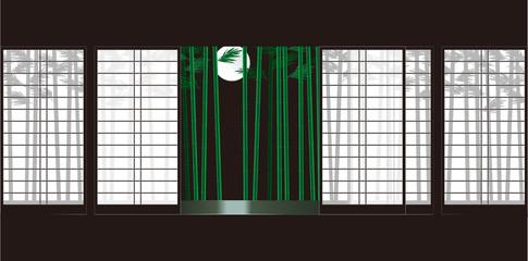 障子と竹と月 和室