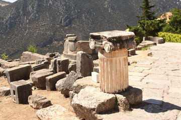 Ancient column in Delphi, Greece
