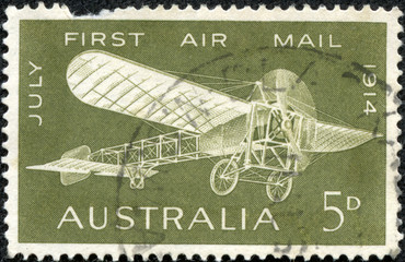 stamp printed in Australia shows a Bleriot monoplane