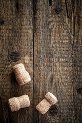 Wine bottle corks on the wooden background