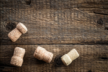 Wine bottle corks on the wooden background