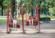 two girls on swing