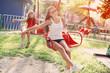 happy girls on playground