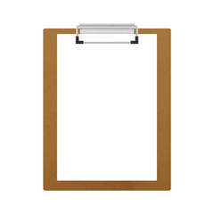 brown wooden clipboard isolated for note in office of paper illu