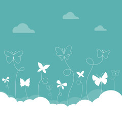 Group of butterflies flying in the sky.