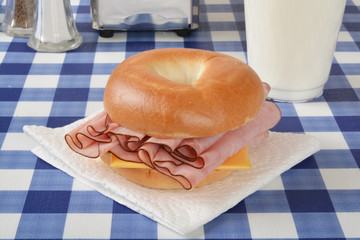 Ham and cheese sandwich on a bagel