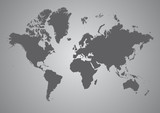 Fototapety Gray Map of the World - Contienents