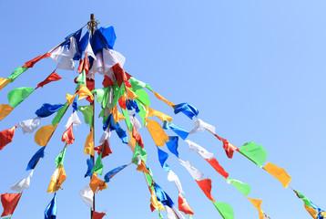 Buddhist tibetan prayer flags waving in the wind