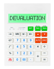 Calculator with DEVALUATION on display isolated on white
