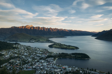 View of Queenstown, New Zealand from top of the mountain