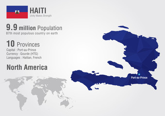 Haiti world map with a pixel diamond texture.