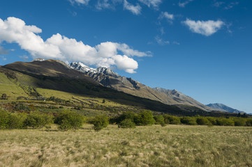 View of the mountain range near Glenorchy, New Zealand
