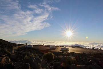 Under the clouds, the summit of Haleakala, Maui, Hawaii