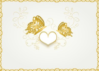 Wedding card with golden butterflies