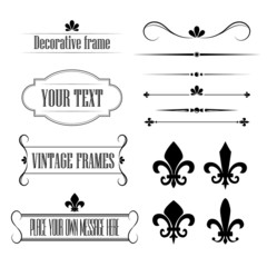 Set of calligraphic flourish design elements, borders and frames