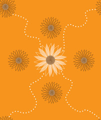 Sunflower pattern on orange background