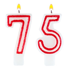 Birthday candles number seventy five isolated on white
