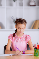 beautiful girl doing homework