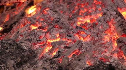 close-up campfire