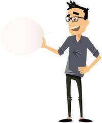homme moderne avec bulle