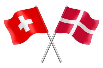 Flags: Switzerland and Denmark