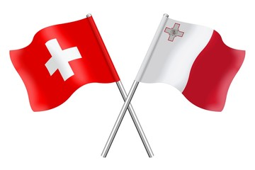 Flags: Switzerland and Malta