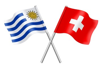 Flags: Uruguay and Switzerland