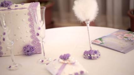 wedding decor items on the table