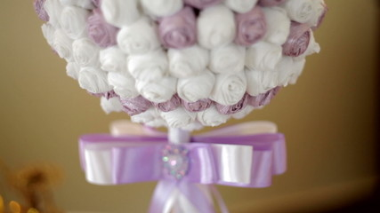 beautiful wedding bouquet in form of a decorative ball