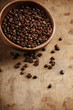 canvas print picture - Coffee on grunge wooden background