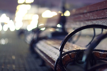 night, autumn bench city
