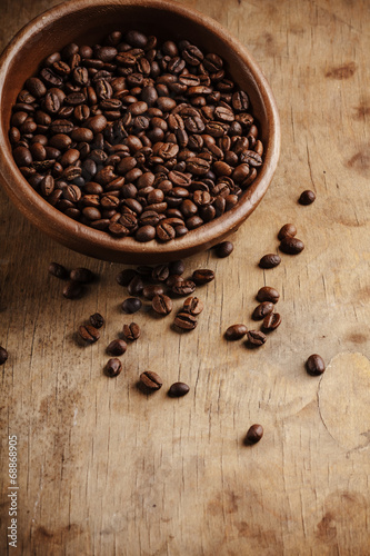 canvas print picture Coffee on grunge wooden background