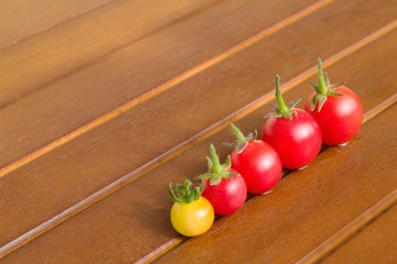Colourful tomatoes on a table