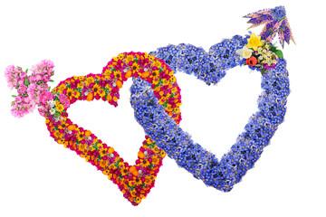 Flowers lovers hearts
