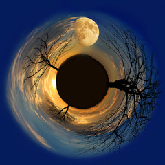 little planet with moon and a sun