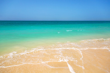 Beach with turquoise water background