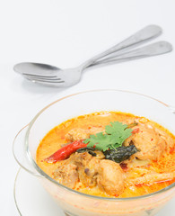 spicy chicken curry with bamboo shoots, thai food.