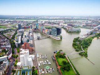 Dusseldorf city in Germany aerial view