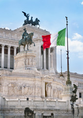 Italian flag in the Vittoriano monument in Rome