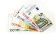 canvas print picture - Euro Geldscheine auf weissem Hintergrund
