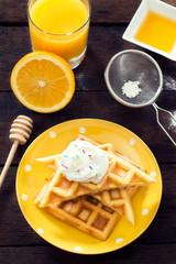 Waffles and sweet cream