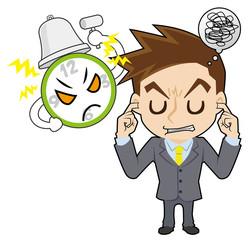 時計とイライラするビジネスマン