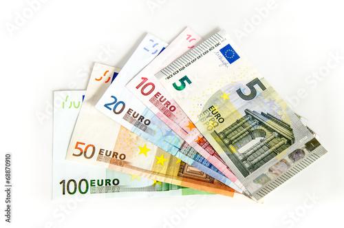 canvas print picture Euro Geldscheine auf weissem Hintergrund