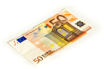 Euro Geldschein 50 auf weissem Hintergrund