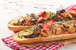 Big sandwich with roasted vegetables