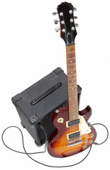 Electric guitar leaning on amplifier. Contains Clipping path.