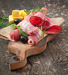 Meat appetizer on old wooden background